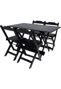 Conjunto Mesa Com 4 Cadeiras Dobrável Trevalla 120X70Cm Preta