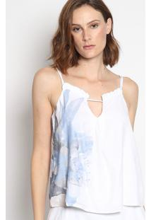 Blusa Floral Com Babados- Branca & Azulenna