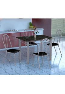 Conjunto De Mesa Genova Com 4 Cadeiras Alicante Branco Prata E Preto Liso