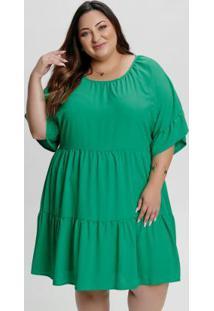 Vestido Plus Size Verde De Babados