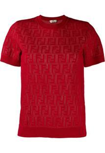 Fendi Blusa De Tricô Ff - Vermelho