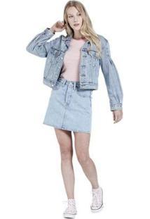 Jaqueta Jeans Full Sleeve Trucker - Feminino-Jeans Claro