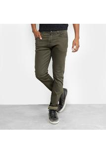 Calça Slim Ellus Color Tinturada Masculina - Masculino-Verde Escuro