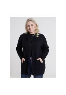 Cardigan De Tricot Plus Size Feminino Preto