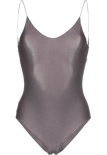 Oseree Travaille Lace Trim Scoop Back Swimsuit - Cinza