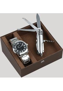 Kit De Relógio Analógico Mondaine Masculino + Canivete - 99130G0Mvne1K1 Prateado - Único