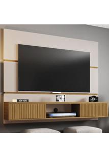 Painel Para Tv Até 60 Polegadas 2 Portas Âmbar Off White/Cinamomo/Ripado - Móveis Bechara