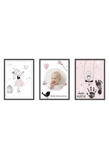 Quadro 40X90Cm Infantil Lembrança Bebê Menina Moldura Preta Com Vidro Decorativo