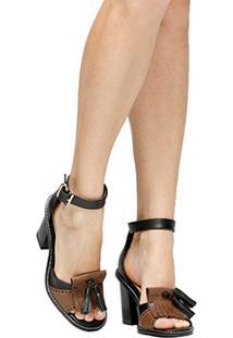 Sandália Couro Shoestock Salto Grosso Franja Feminina - Feminino