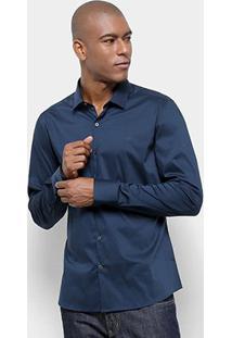 Camisa Calvin Klein Slim Fit Lisa Stretch Masculina - Masculino-Marinho