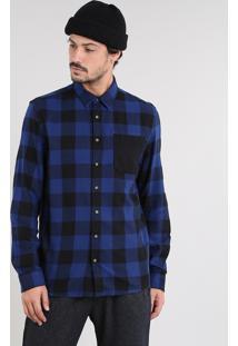Camisa Masculina Estampada Xadrez Com Bolso Manga Longa Azul