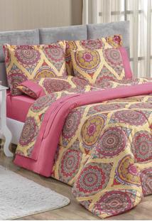 Edredom King Bia Enxovais Estampado Dupla Face 3 Peças Naturalle Mandala - Pink