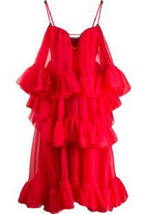 Christopher Kane Vestido De Organza Com Babados - Vermelho