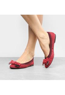 Sapatilha Couro Shoestock Elástico Camurça Feminina - Feminino-Bordô
