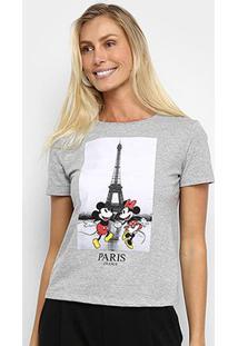 Camiseta Cativa Disney Mickey & Minnie Paris Feminina - Feminino-Mescla