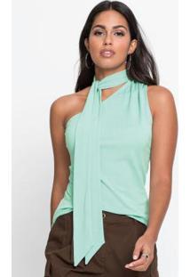 Blusa De Um Ombro Só Com Amarração Verde Claro