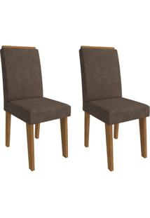 Conjunto Com 2 Cadeiras De Jantar Milena Suede Savana E Cacau