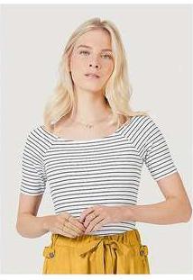Blusa Básica Feminina Em Malha De Algodão Com Decote Canoa Branco