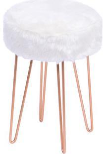Puff Glamour- Branco & Cobre- 40Xø28Cm- Or Desigor Design