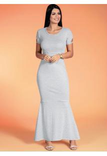 Vestido Sereia Listrado Mescla Moda Evangélica