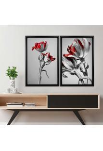 Quadro Love Decor Com Moldura Chanfrada Flores Vermelhas Preto - Médio