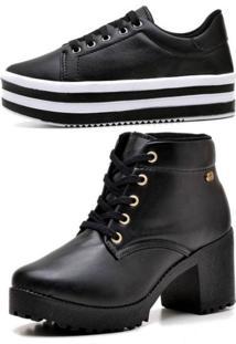 Kit Bota Coturno Ousy Shoes Mais Tênis Flatform Preto