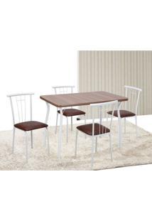 Conjunto De Mesa Com 4 Cadeiras Marta Branco E Marrom