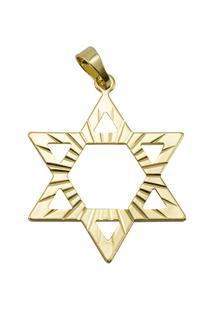 Pingente Estrela De Davi Tudo Joias Folheado A Ouro 18K - Unissex-Dourado