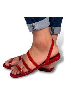 Sandália Feminina Rasteirinha Leve Confort Flat Vermelha Eleganteria