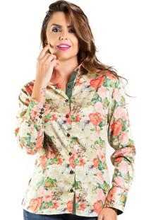 Camisa Carlos Brusman Slim Floral Verde