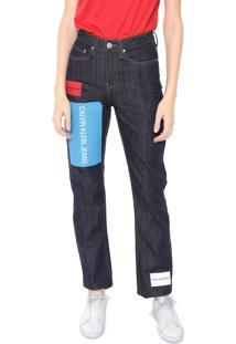 Calça Jeans Calvin Klein Jeans Reta Logo Azul