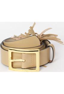 Cinto Em Couro Com Barbicachos- Bege & Dourado- 3,5Xlança Perfume