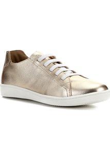 Tênis Couro Shoestock Metalizado Elástico Feminino - Feminino-Dourado
