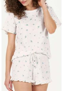 Pijama Feminino Curto Cor Com Amor 12774 Off-White