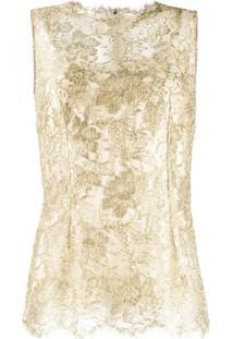 Dolce & Gabbana Lace Brocade Sleeveless Blouse - Dourado