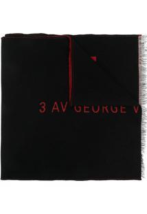 Givenchy Cachecol Com Franjas E Logo Bordado - Preto