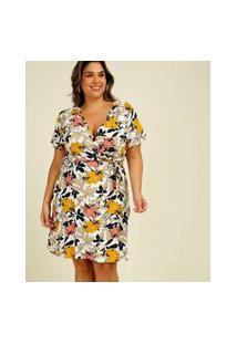 Vestido Plus Size Feminino Transpassado Floral Marisa