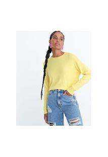 Blusa Lisa Em Tricô Com Punhos E Barra Canelados | Blue Steel | Amarelo | M