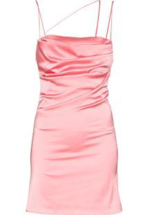 De La Vali Vestido De Cetim Frisco - Rosa