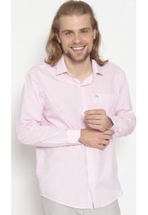 Camisa Tradicional Com Bolso- Branca & Rosa Claroogochi