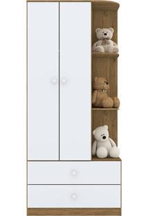 Guarda Roupa Infantil 2 Portas Labirinto-Henn - Rustico / Branco