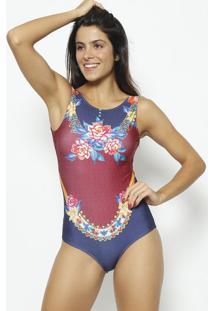 Body Floral Com Aviamento- Azul Marinho & Vermelho- Daniela Tombini