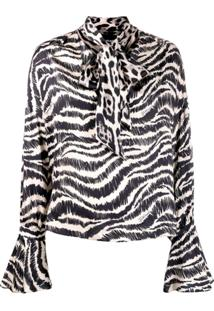 Just Cavalli Animal Print Pussy Bow Blouse - Preto
