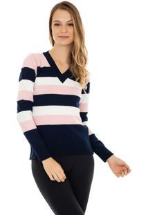 Blusa Pink Tricot Manga Longa Suéter Modal Listrado Marinho/Rosa