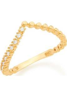 Anel Skinny Ring Aro Curvado Em V Esferas E Zircônias Rommanel - Feminino-Dourado