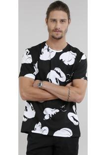 Camiseta Masculina Estampada Mickey Mouse Manga Curta Gola Careca Preta