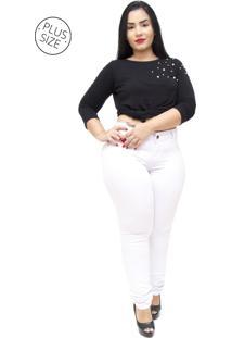 Calça Jeans Mc2 Plus Size Skinny Elidiani Branca