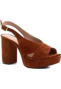 Sandália Shoestock Meia Pata Slingback Camurça Feminina - Feminino-Caramelo