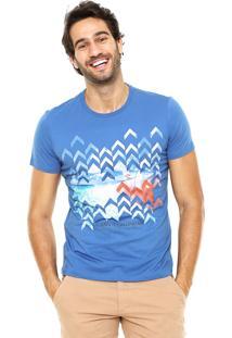 Camiseta Enfim Estampada Azul