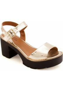 Sandália Metalizada Tratorada Sapato Show 12815 - Feminino-Ouro